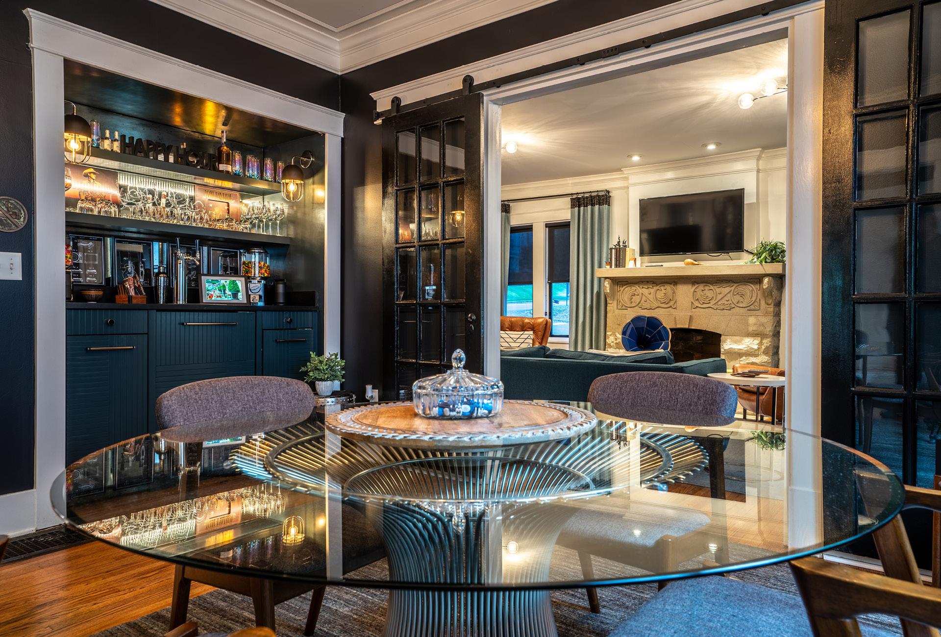 The NashVilla's glass kitchen table and impressive bar