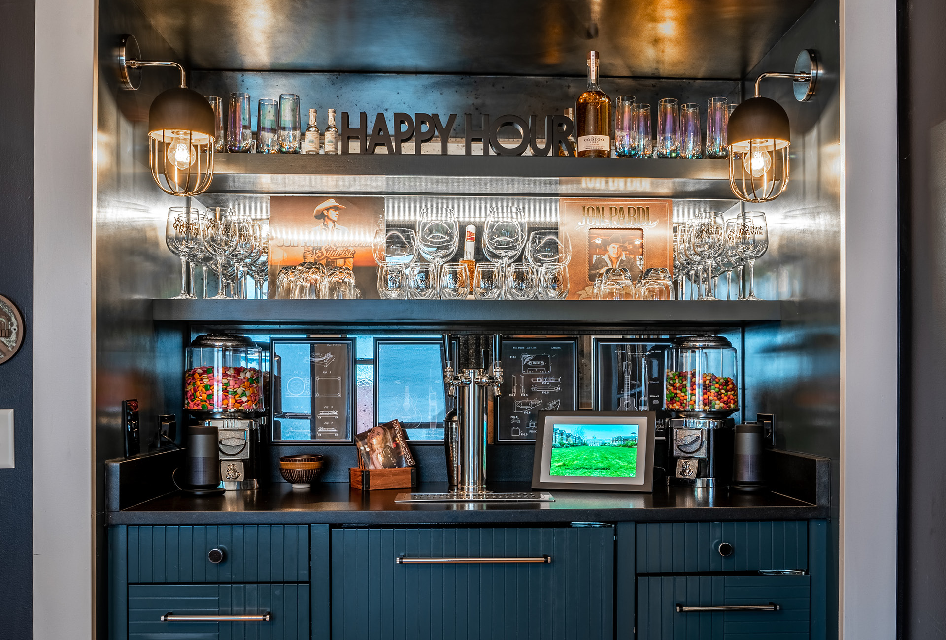 A bar with whiskey, wine, and hookups for a beer keg